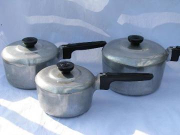 vintage Magnalite aluminum cookware, Wagner Ware pots & pans set