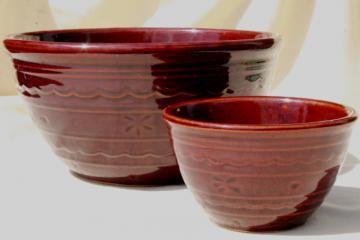 vintage Marcrest daisy dot brown glaze stoneware pottery chip & dip serving bowls set