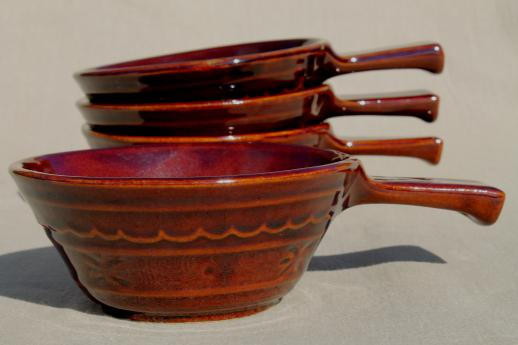 vintage Marcrest daisy-dot brown stoneware pottery set of stick handled casseroles or soup bowls
