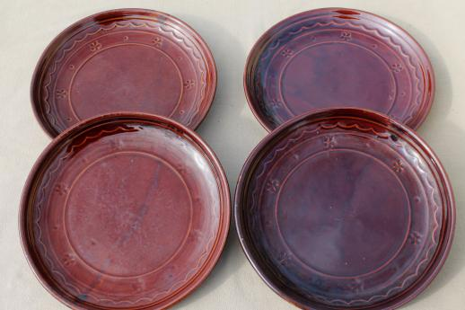 vintage Marcrest pottery daisy dot brown stoneware dinner plates set of 4 & Marcrest pottery daisy dot brown stoneware dinner plates set of 4