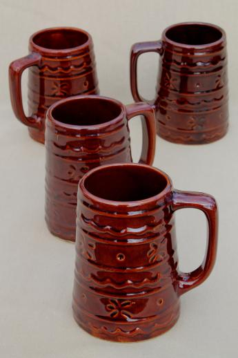 Vintage Marcrest Pottery Daisy Dot Brown Stoneware Mugs