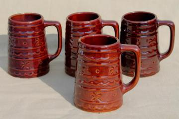 vintage Marcrest pottery daisy dot brown stoneware mugs, tall tavern style cups