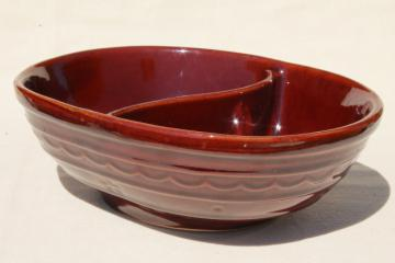 vintage Marcrest pottery daisy dot stoneware divided bowl, Mar-Crest Western stoneware