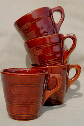 vintage Marcrest stoneware daisy dot coffee cups, set of four mugs