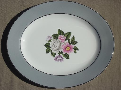 Vintage Margaret Rose Floral Grey Band Platter Homer