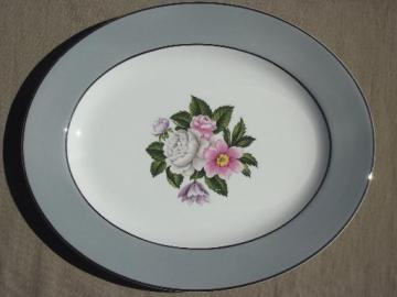 vintage Margaret Rose floral grey band platter, Homer Laughlin eggshell china