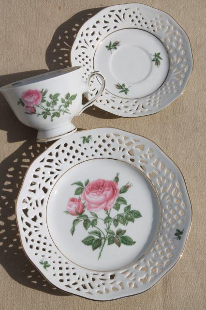 vintage Marienbad Germany lace edge china dessert plate tea cup \u0026 saucer w/ pink rose & vintage Marienbad Germany lace edge china dessert plate tea cup ...
