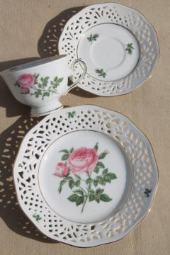 vintage Marienbad Germany lace edge china dessert plate, tea cup & saucer w/ pink rose