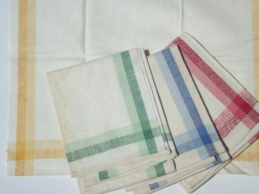 vintage Martex kitchen dish towels primary color checked