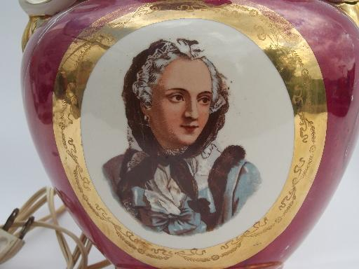 vintage Martha Washington portrait lady china lamp, pink marble luster