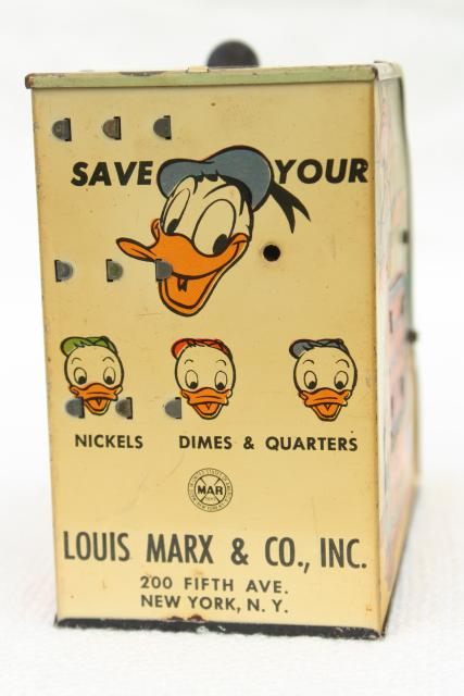 vintage Marx tin toy, mechanical coin savings bank Walt Disney Donald Duck