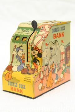 vintage Marx tin toy, mechanical coin savings bank Walt Disney Donald Duck