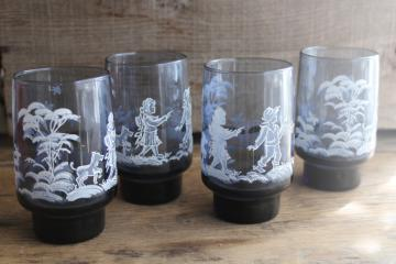 vintage Mary Gregory pattern Libbey drinking glasses, old fashioned tumblers