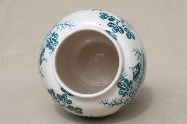 Vintage Mason S England Ironstone China Green Blue Willow Pattern Ginger Jar Vase