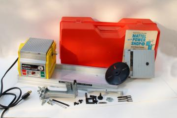 vintage Mattel Power Shop parts unit with case, toy shopsmith woodworking power tools