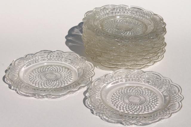 vintage Mayfair Federal glass plates clear depression glass small dessert plate set of 10 & vintage Mayfair Federal glass plates clear depression glass small ...