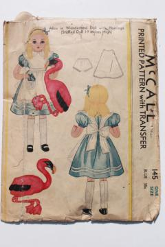 vintage McCalls sewing pattern, Alice in Wonderland doll from antique Tenniel illustrations