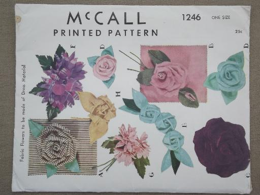 vintage McCalls sewing pattern, craft & sew fabric flowers for ...