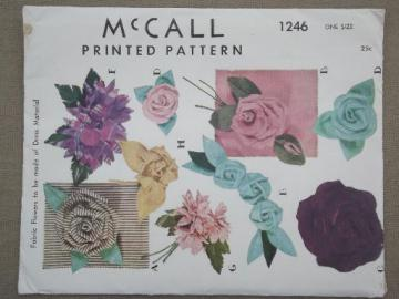 vintage McCalls sewing pattern, craft & sew fabric flowers for dresses, hats