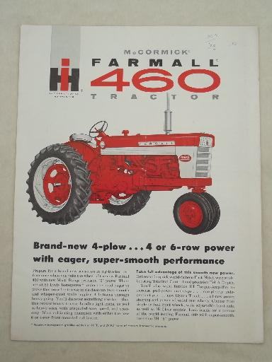 vintage McCormick Farmall IH 460 tractor advertising leaflet