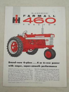vintage McCormick Farmall IH 460 tractor advertising leaflet w/ specs