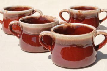 vintage McCoy brown drip pottery onion soups, soup crocks or individual casseroles