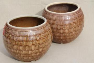 vintage McCoy cookie jar crocks, brown shingle round ball jar, jars only