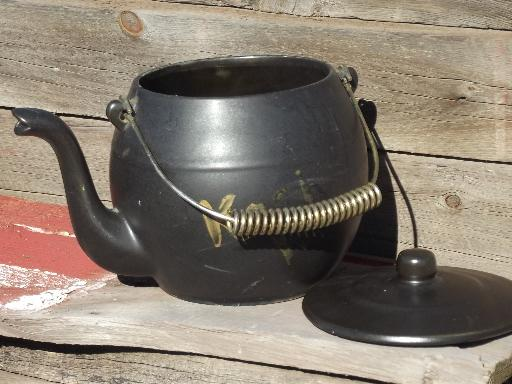 vintage McCoy pottery Kookie Kettle cookie jar, old black tea pot