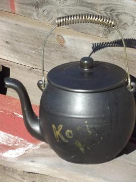 vintage McCoy pottery Kookie Kettle cookie jar, old black tea pot