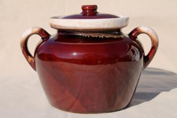 vintage McCoy pottery bean pot, brown drip glaze stoneware crock for baked beans