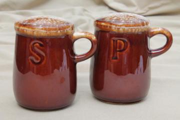 vintage McCoy pottery brown drip glaze S&P salt & pepper shakers set