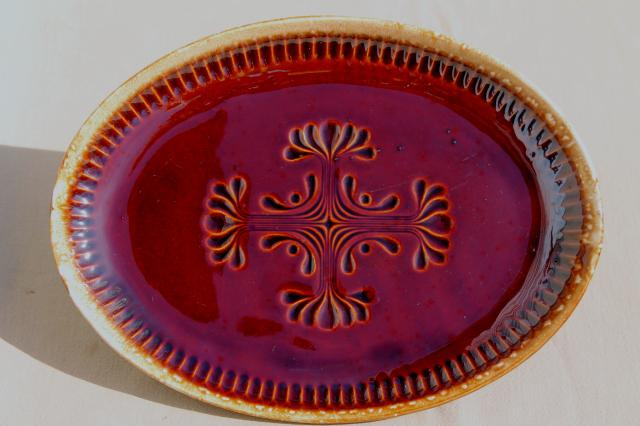 vintage McCoy pottery brown drip glaze platter, folk art carved design