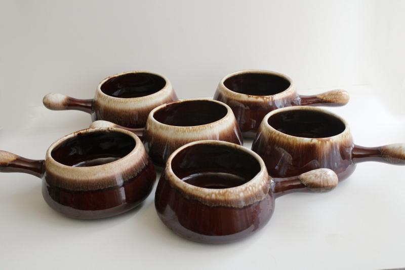 vintage McCoy pottery brown drip stick handle soup bowls or individual casseroles
