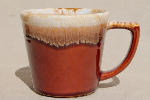 Mccoy Pottery Coffee Mugs Brown Drip Glaze Stoneware Cups