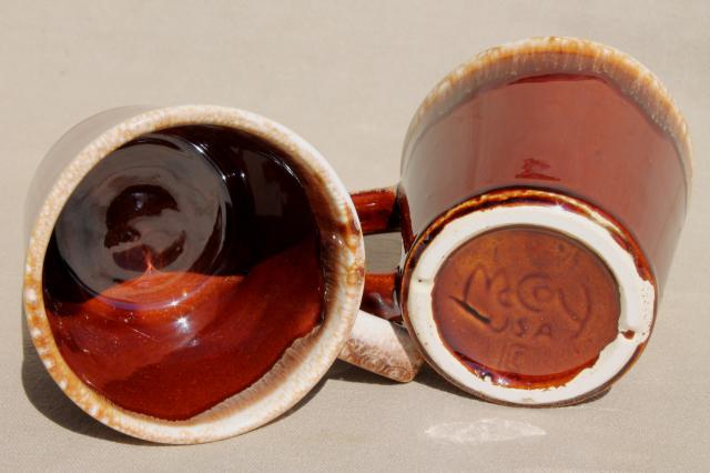 vintage McCoy pottery coffee mugs, brown drip glaze stoneware cups