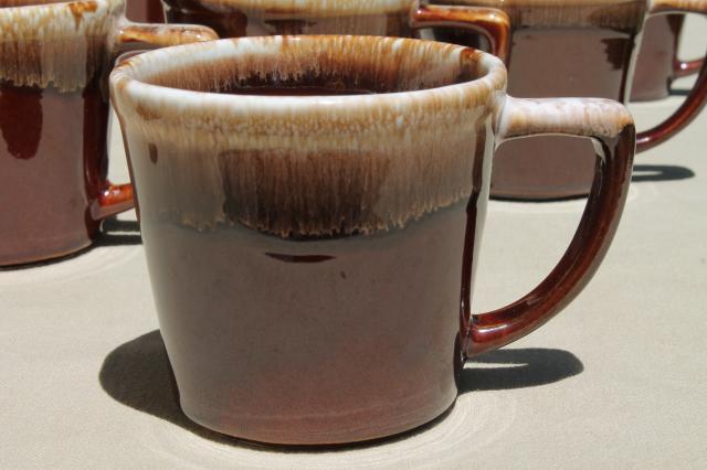 Vintage Mccoy Pottery Coffee Mugs Brown Drip Glaze Stoneware Cups