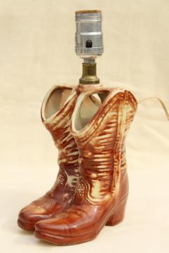 vintage McCoy pottery cowboy boots, retro table lamp, western cowgirl junk style!
