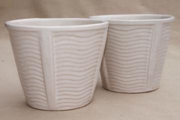 vintage McCoy pottery flower pot planters, matte white glaze pots w/ mod wavy lines