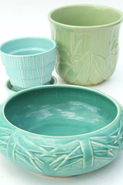 vintage McCoy pottery flower pots \u0026 planters blue green aqua instant collection & vintage McCoy pottery flower pots \u0026 planters blue green aqua ...