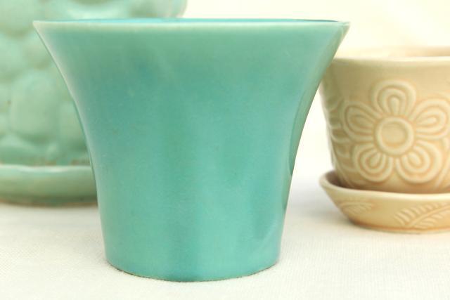 Vintage Mccoy Pottery Flower Pots Amp Planters Blue Green