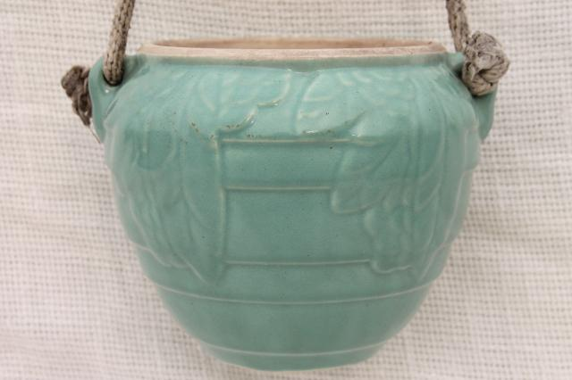 vintage McCoy pottery hanging planter flower pot, aqua sweet pea leaf plant hanger