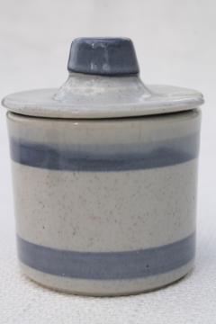 vintage McCoy pottery jam jar or mustard pot, blue band stoneware crock w/ lid