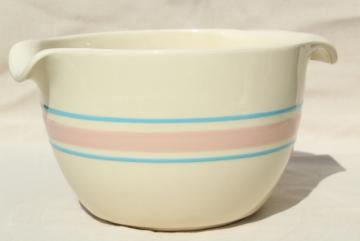 vintage McCoy pottery pink & blue band batter pitcher spout mixing bowl w/ grip handle