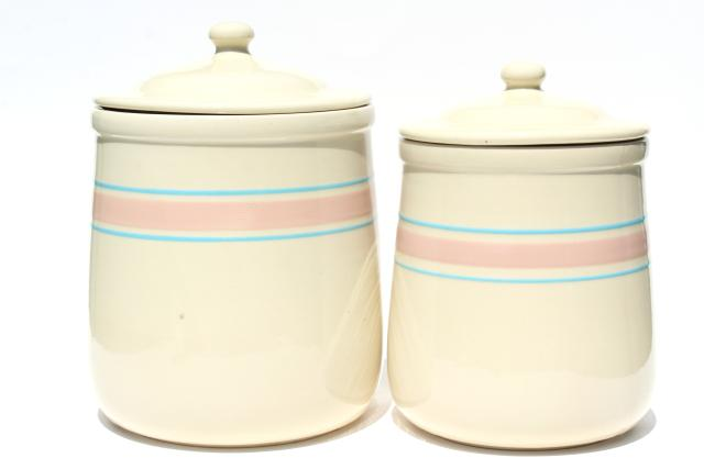 vintage McCoy pottery utility ware pink & blue band cookie jar & large canister