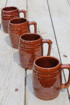 vintage McCoy stoneware pottery old oaken barrel beer steins or cider mugs