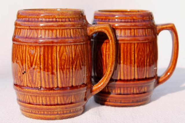 vintage McCoy stoneware pottery old oaken barrel beer steins or cider mugs w/ pitcher