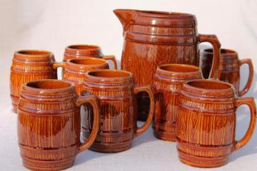 vintage McCoy stoneware pottery old oaken barrel beer steins or cider mugs w/ pitcher
