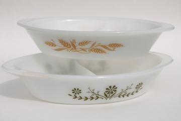 vintage McKee oven proof milk glass casseroles, green daisy Glasbake, golden wheat Sears