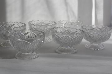 vintage McKee pressed pattern glass, mini punch bowls, finger bowls, sherbet dishes?