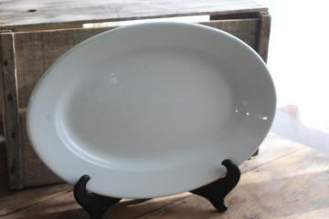 vintage Meakin white ironstone platter, huge heavy china tray or turkey platter